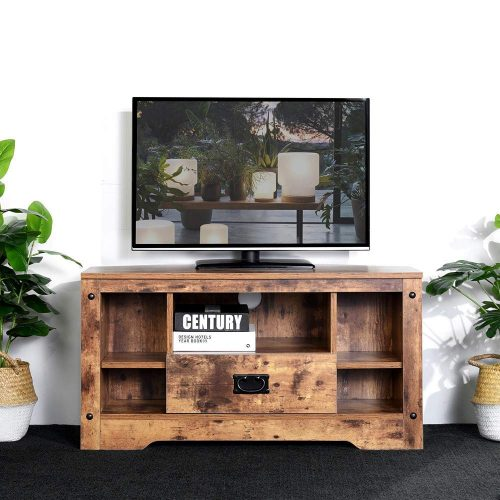 """Aingoo Small Corner TV Stand Table 35.4 Inch Rustic Entertainment Center with Drawer Farmhouse (Holds Up to 37"""")"""