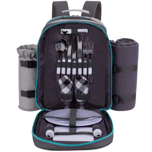 ALLCAMP 2 Person Picnic Backpack Set | Detachable Wine Insulated Cooler Basket Bag with Complete Tableware Set, Waterproof Fleece Blanket (Grey)