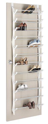 Whitmor Over The Door Rack-36 Fold Up Non-Slip Bars Shoe Rack, 36-Pair, White