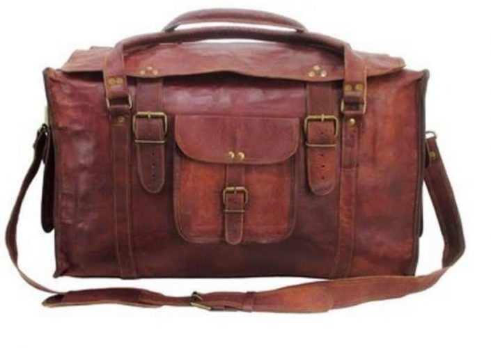 """HLC 21"""" Mens Retro Style Carry on Luggage Flap Duffel Leather Duffel Bag"""