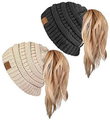 Funky Junque CC Ponytail Messy Bun Beanie Tail Womens Beanie Solid Ribbed Hat Cap