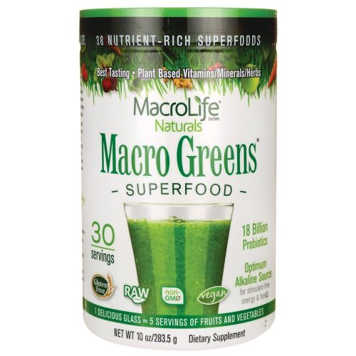Macro Greens Superfood - 18 Billion Non-Dairy Probiotic Cultures - Raw Green Superfood With Concentrated Polyphenols - Certified Organic Barley Grass Powder - 5+