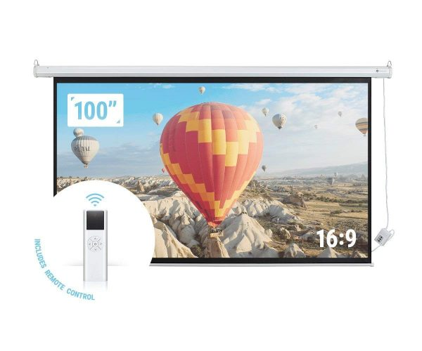 "Homegear 100"" HD Motorized 16:9 Projector Screen W/Remote Control"