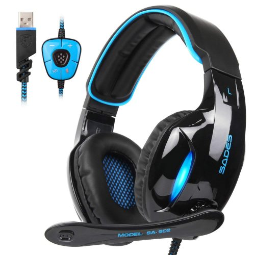 SADES SA902 Gaming Headset Headphone Stereo 7.1 Channel USB wired with Mic Volume Control LED Light