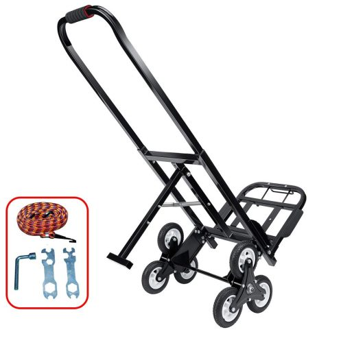 Mecete Stair Climbing Cart Portable Climbing Cart 330 lb Largest Capacity All Terrain Stair Climbing Hand Truck Heavy Duty with 6 Wheels (Black) Baking Varnish Surface Shining