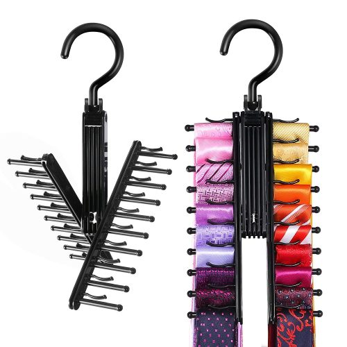 IPOW Upgraded 2 PCS See Everything Cross X 20 Tie Rack Holder, Rotate to Open/Close Tie and Belt Hanger with Non-Slip Clips, 360 Degree Swivel Space Saving Organizer