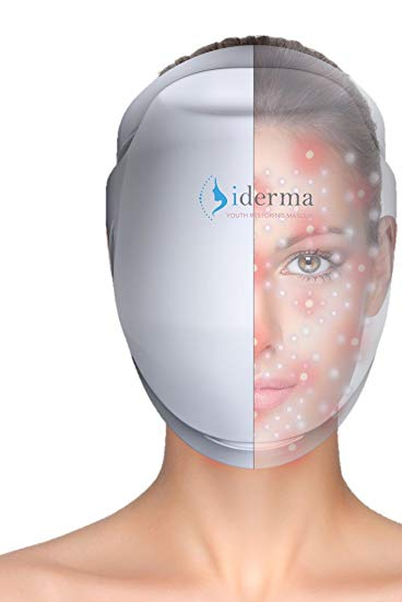 iderma Youth Restoring Face Masque: Anti Aging LED Light Therapy Facial Skin Treatment Mask for Lightening, Firming, Refining and Repairing Complexion