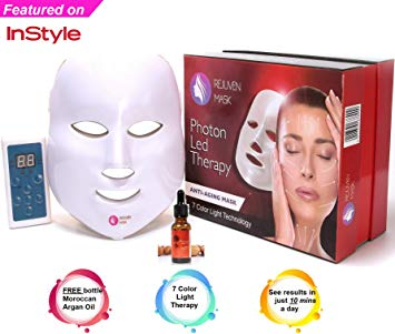 Rejuven Mask LED Light Therapy Mask Includes a FREE bottle of Argan Oil for Anti-aging, Brightening, Improve Wrinkles. Tightening and Smoother Skin