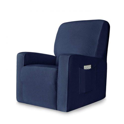 CHUN YI 1-Piece Stretch Spandex Jacquard Chair Slipcovers (Recliner, Dark Blue)