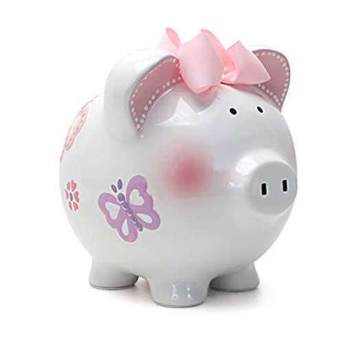 Child to Cherish Ceramic Piggy Bank for Girls, Butterfly