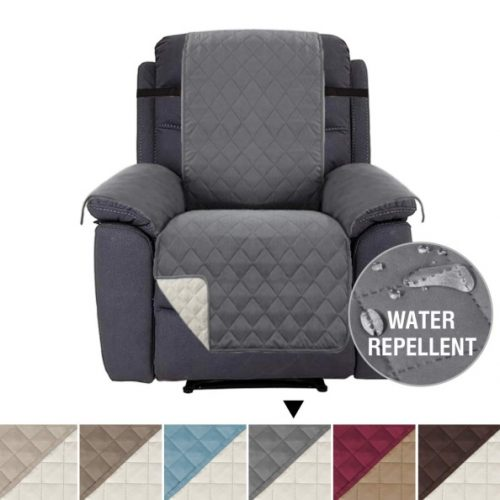 """H.VERSAILTEX Recliner Cover Recliner Slipcover Recliner Protector for Pets, Reversible and Thick, 2"""" Elastic Straps, Diamond Stitches Pattern, Cotton Like Quilted (Recliner Brown/Beige)"""