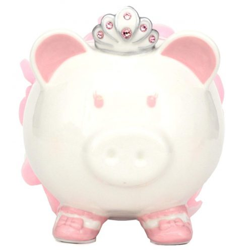 Swarovski with Crown Princess Porcelain Piggy Bank for Kids by FAB Starpoint (Pink)