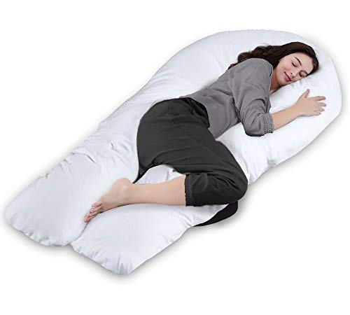 QUEEN ROSE 65in Pregnancy Body Pillow-U Shaped Maternity Pillow for Pregnant Women with Cotton Cover, White