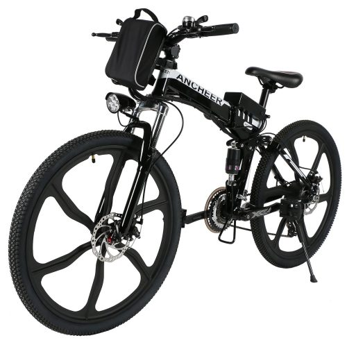 "ANCHEER Folding Electric Mountain Bike with 26"" Super Lightweight Magnesium Alloy 6 Spokes Integrated Wheel, Lithium-Ion Battery (36V 250W), and Shimano 21 Speed Gear"