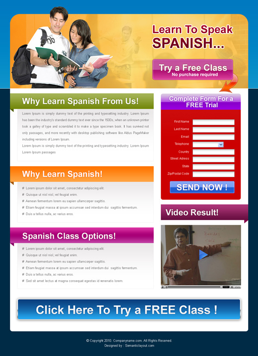 Education landing page design template