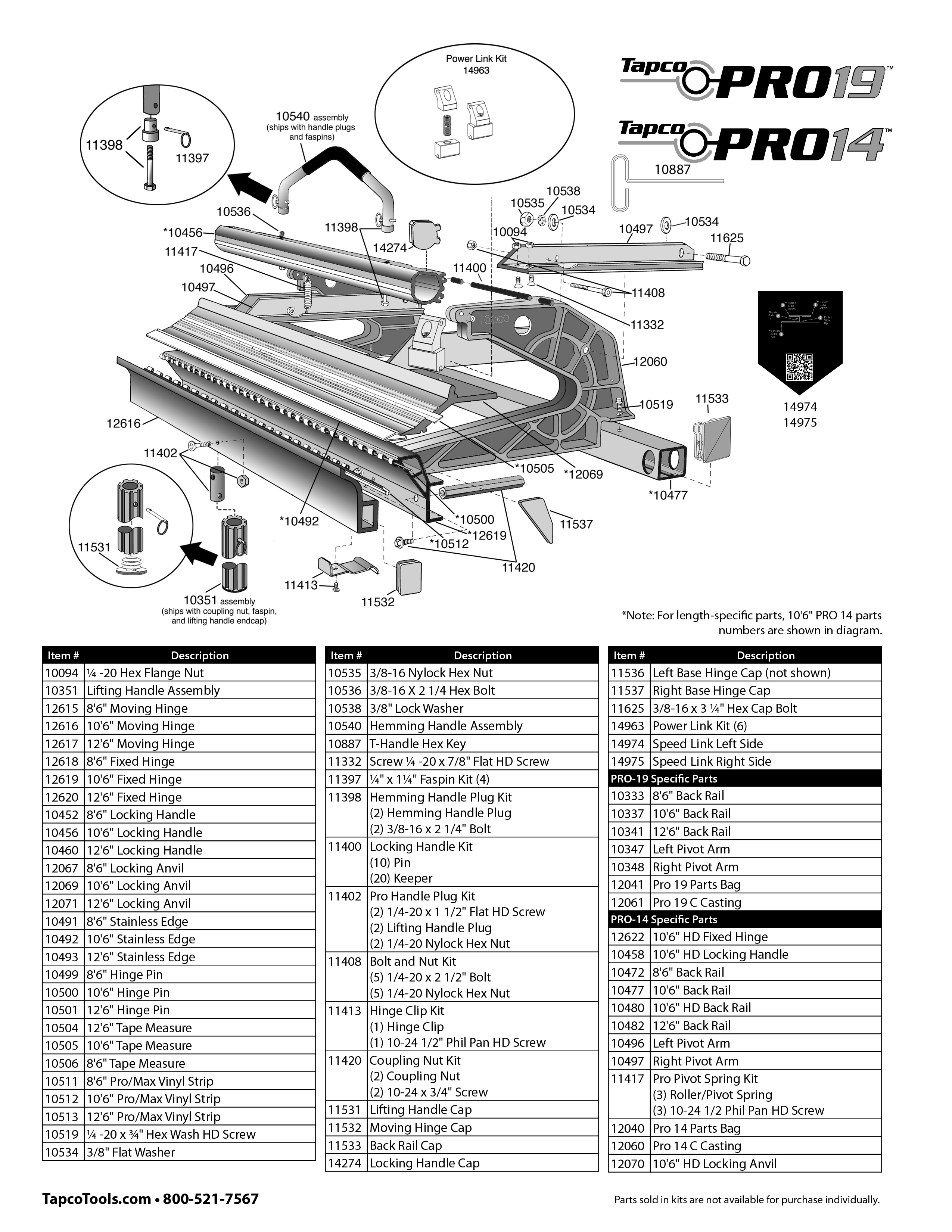Tapco Pro 19 Replacement Parts From Buymbs