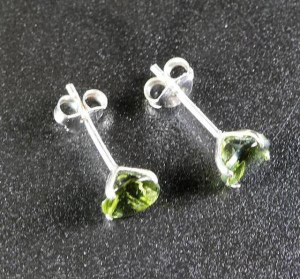 Round Shape Moldavite 925 Sterling Silver Earrings 3 Carat 4