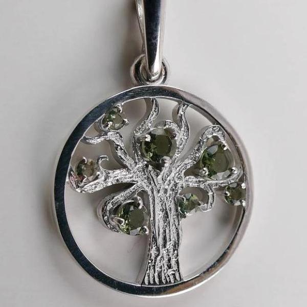 Moldavite Tree Of Life Pendant 925 Sterling Silver Faceted