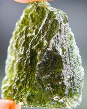 Big Moldavite with 2 Open Bubbles Stone (13.18 grams)