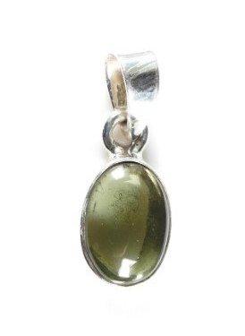 Moldavite small plain cut sterling silver pendantunique