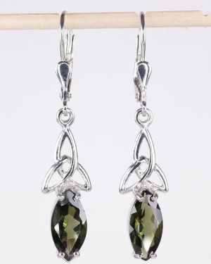 Faceted Moldavite Marquise Sterling Silver Earrings (3.2grams)