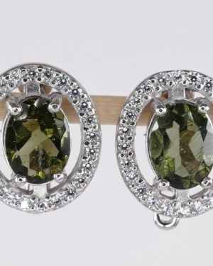 Oval Faceted Moldavite Earrings With Cubic Zirconia (4.5grams)