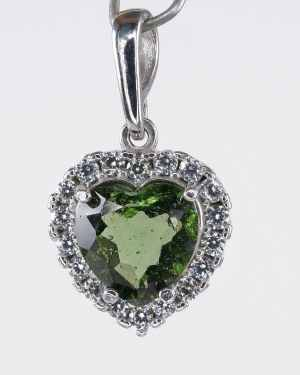Faceted Moldavite Heart Shape With Cubic Zirconia Sterling Silver Pendant (4.0grams)