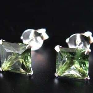 Faceted Moldavite Square Shape Sterling Silver Earrings (0.70grams)