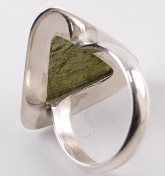 Triangle Shape with Authentic Raw Moldavite Ring