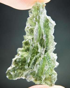 Unique Natural Triangle Shape Moldavite - Hedgehog from Basednice with Certification of Authenticity (3.38grams)