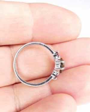 Heart Shape Faceted Moldavite Ring (1.9grams) size 54 (US 7)