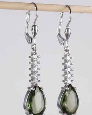 jElegant Faceted Moldavite Cubic Zirconia Earrings