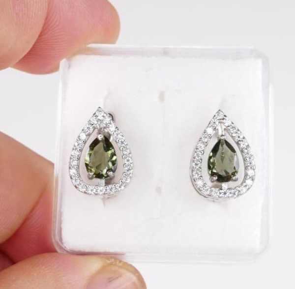 High Quality Cubic Zirconia Moldavite Earrings