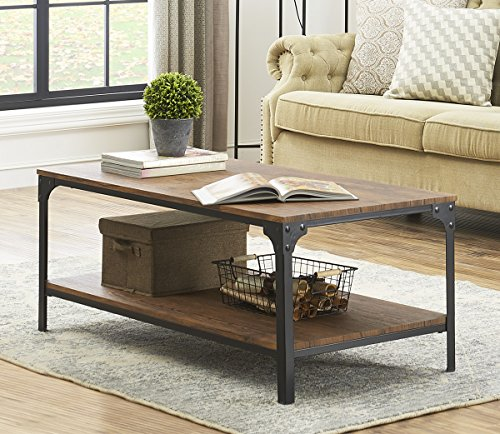 o k furniture industrial rectangular coffee table with storage bottom shelf brown
