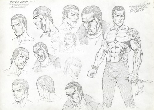 Jericho Barrons Model Sheet Original Art by Al Rio for Karen Marie Moning, FEVER MOON
