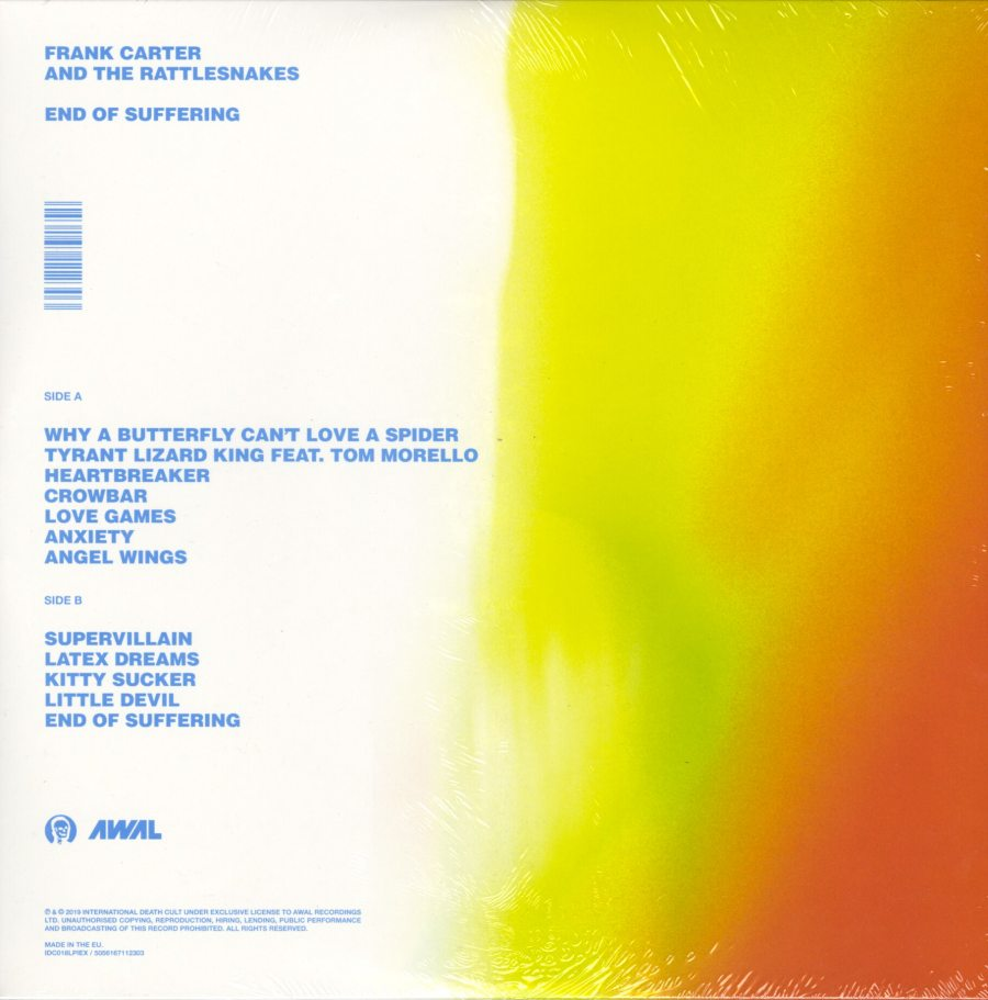 Frank Carter & the Rattlesnakes - End of Suffering - Ltd Ed, Clear/Green, Vinyl, LP, Int'l Death Cult, 2019