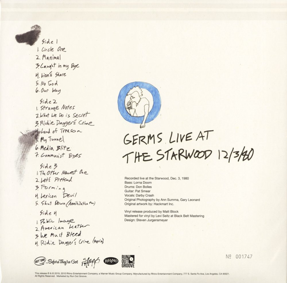 Germs - Live At Starwood Dec. 3 1980 - Ltd Ed, 2XLP, Colored Vinyl, Numbered, R.O.G., 2019
