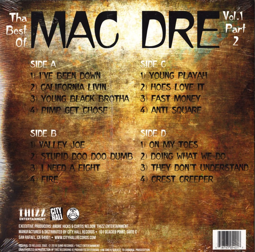 Mac Dre - Best of Mac Dre 1: Part 2 - Double Vinyl, LP, Thizz Ent, 2019