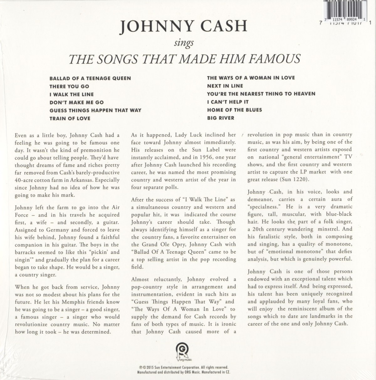Johnny Cash - Sings The Songs... Ltd Ed, Sunshine Yellow, Colored Vinyl, LP, Reissue, Org Music, 2020