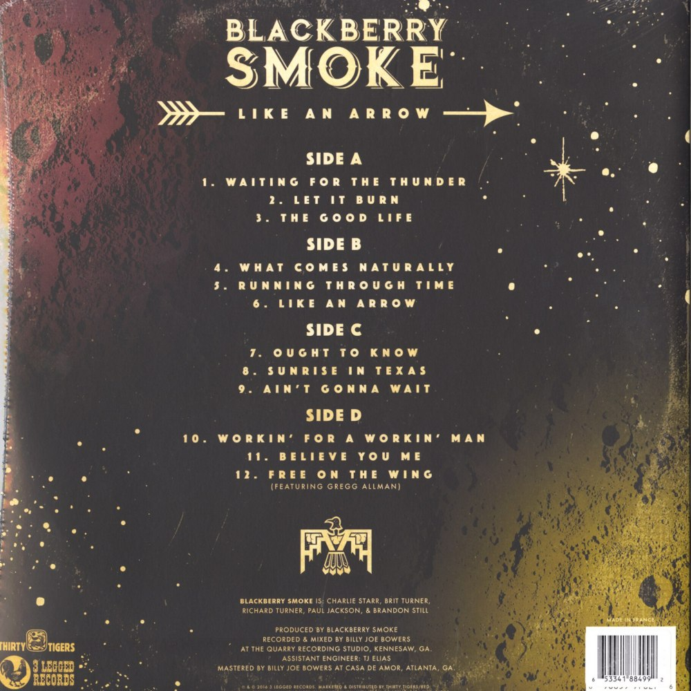 Blackberry Smoke - Like An Arrow - Ltd Ed, 2XLP, Orange, Colored Vinyl, Double Vinyl, 3 Legged Records, 2016