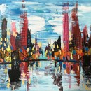 Modern City With Bridge Abstract Painting 106