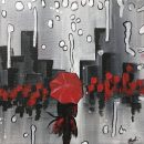 Umbrella With Girl Abstract Painting