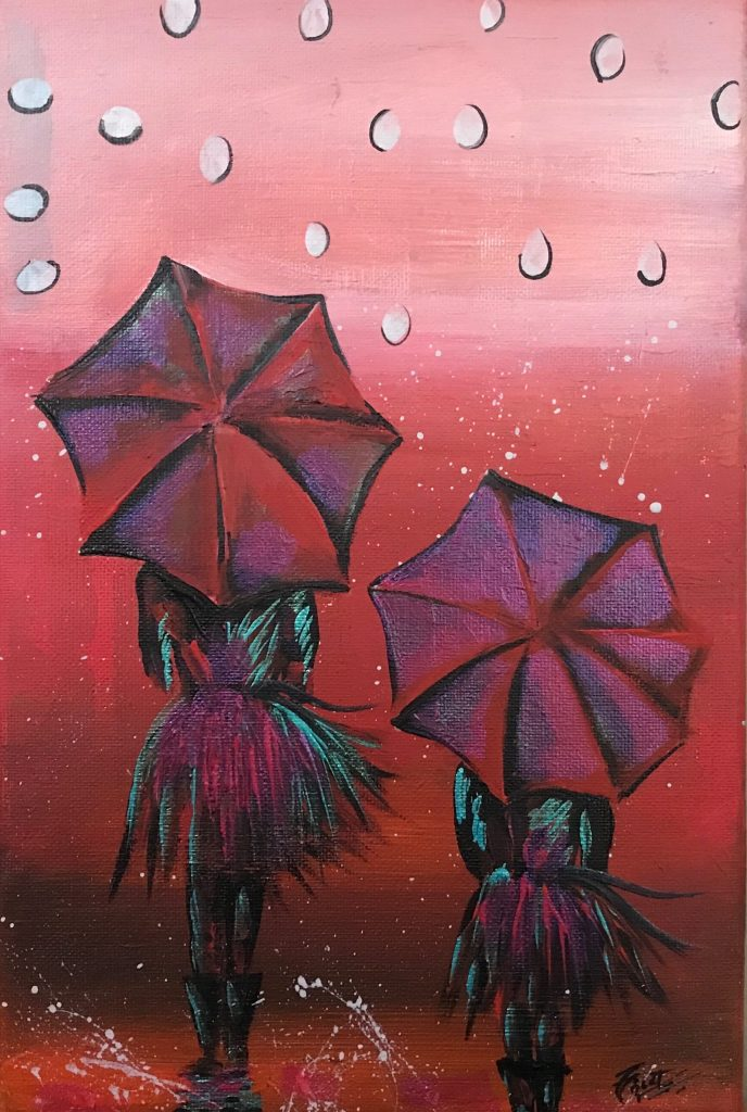 Rainy Day Girls with Umbrella 108