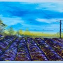 Lavender Fields With Blue Sky Abstract