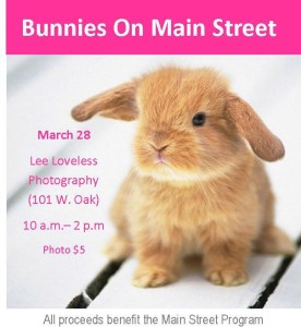 Come get your picture taken at the 4th annual Bunnies on Main fundraiser. Hosted by Lee Loveless Photography (101 W. Oak). Professional photos while you wait for $5 each.  Photo via Palestine Main Street