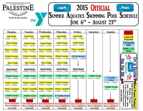 palestine tx swimming pool schedule final 2015