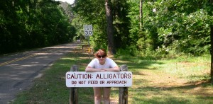 This is me in front of the sign when you enter Martin Dies Jr State Park...lol don't feed them!