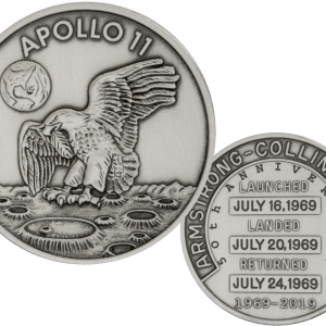 BUY-969-2019-APOLLO-11-50TH-ANNIV.-ROBBINS-MEDAL-1OZ-SILVER-WITH-SPACE-FLOWN-ALLOY-ANTIQUED-MEDAL