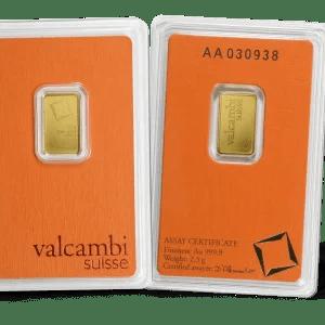 Buy Valcambi 2.5 gram gold bar bu