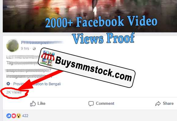 2000 Facebook Video Views Proof
